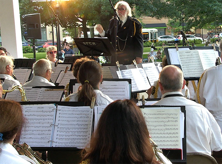 John O'Toole conducts the Waltham American Legion Band