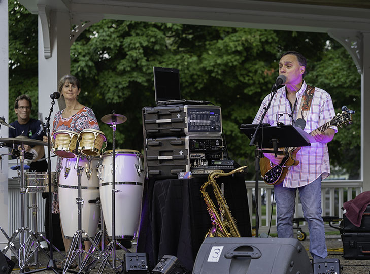 Tom Bruhl Trio performing at Waltham Common during the 2019 Concerts on the Common series