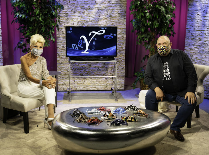 Yolanda with David Josef after taping an episode about masks