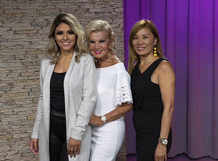 Yolanda with Ella Tang (right) and her model Fernanda Antunes