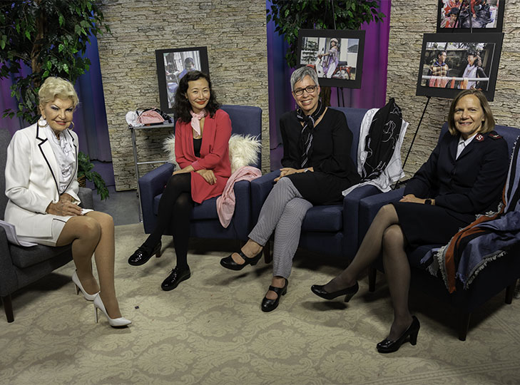 Yolanda, Lily Quian, April Foster and Beth Foster on set following taping for an episode of Yolanda Style & Glamour