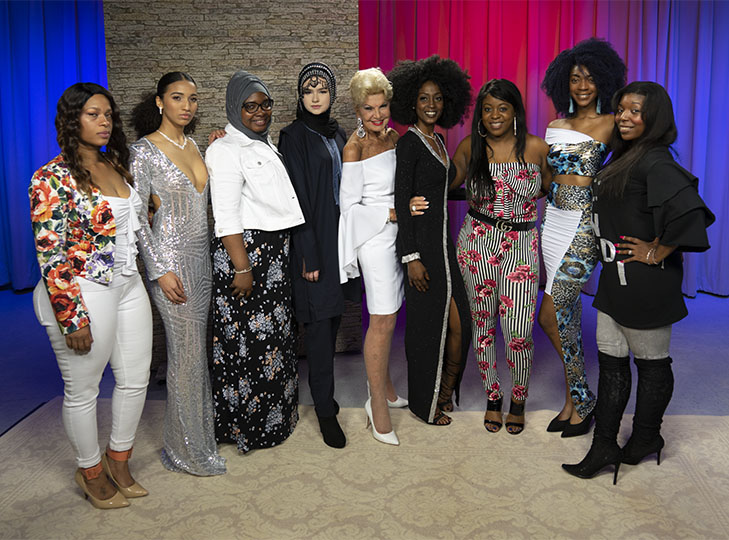 Models and designers from Vogue fashion pose with Yolanda
